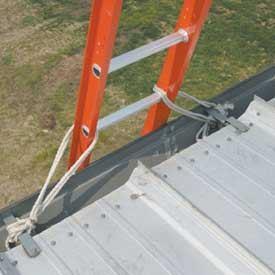 ladder tie off for safe roofing